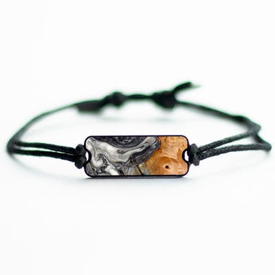 Onyx - Black & White - Wood+Resin Bracelet