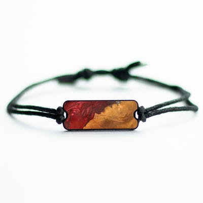 Ruby - Dark Red - Wood+Resin Bracelet